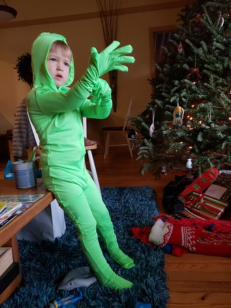 "Elliot in his ""green man"" suit"
