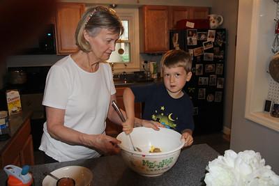 making M&M cookies