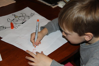 doing so well writing his name - lots of kids this age take up the entire page