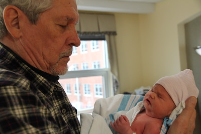 Granddad's first visit with baby Arlo