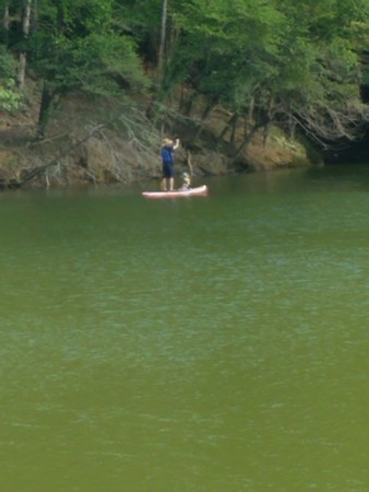 Drew and Elliot on the paddleboard