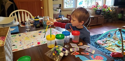 Elliot doing a home school craft during the coronavirus outbreak  3/2020