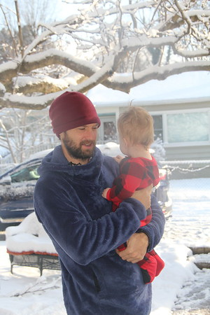 Drew and Arlo and snow!