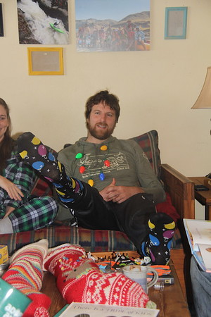 Jeff sporting his new Christmas socks
