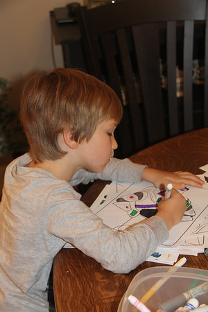 coloring Buzz Lightyear - Elliot's favorite character (at the moment)