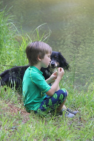 At the Piney Mountain pond - Tex wants some of Elliot's snack