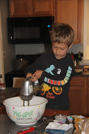 using the electric mixer for the first time - cupcakes coming up!