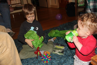 Elliot gave the light-up ball to Arlo for his birthday
