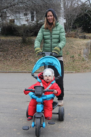 Arlo's new ride - tricycle stroller