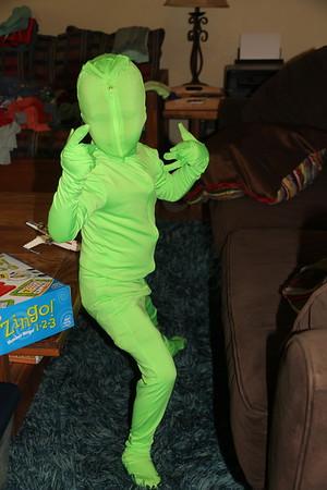 green man superhero stance