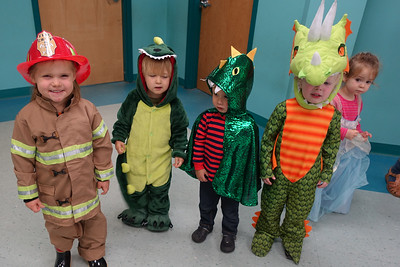 Dinosaur/dragon line-up (with a firefighter & princess just in case)