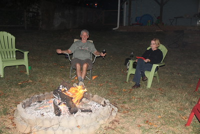Ed and Jan around the bonfire