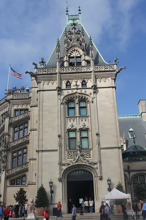 Jan at Biltmore house entrance - 250 total rooms, 35 bathrooms, 35 guest & family rooms