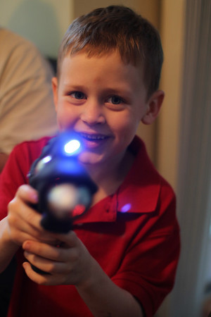Aaron loves the lazer light gun - had to give him two, so he and Edward could shoot one another