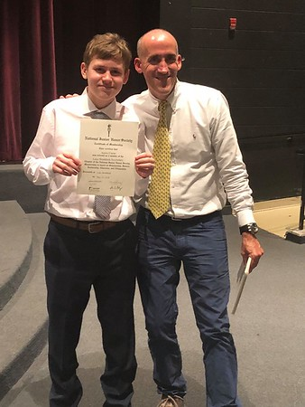 Aaron with his favorite teacher - NJHS induction
