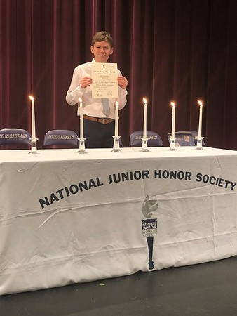 Aaron's induction into National Junior Honor Society