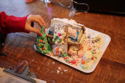 "Aaron's ""snow house"" - partially eaten and the roof was sliding off, but he was very proud of it"