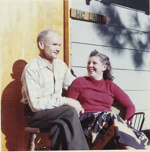 Victor and Marcia sitting on the deck of the house in Truckee