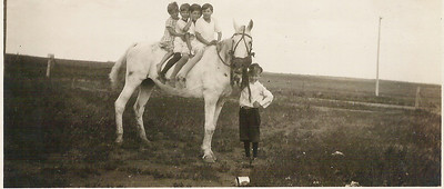 Marcia on the back with her La Grave cousins.