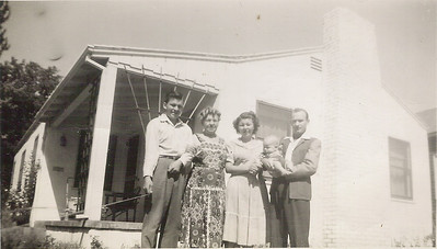 In Marcia's Mother's house in Stockton California: L to R Royce, Olive, Marcia, baby Tim and Victor McLane