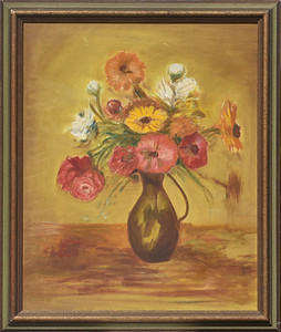 Flowers In a Brown Pot - with Frame -   16 X 20