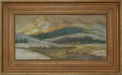 Mountain and Lake  - 1981 - with frame - 12 X 24