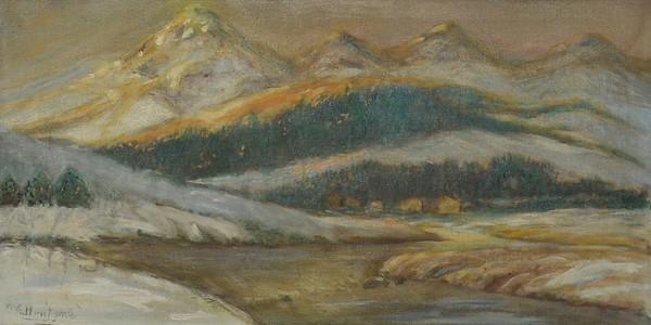 Mountain and Lake -  1981 - 12 X 24