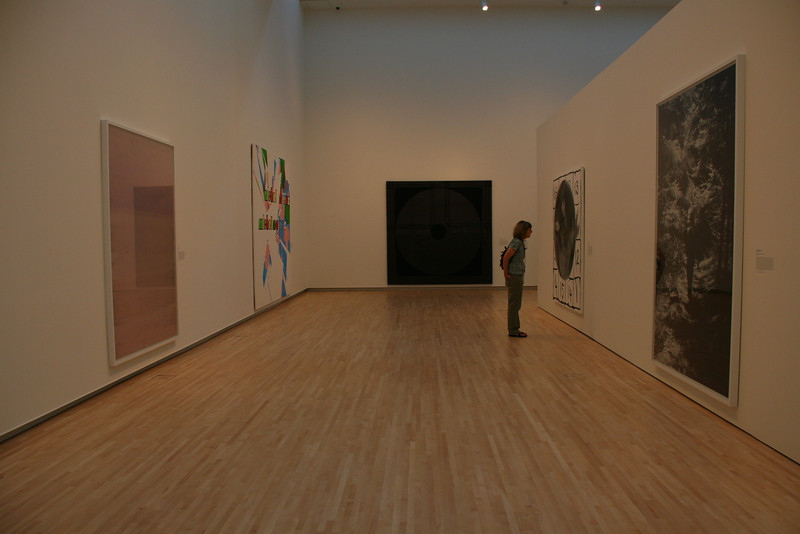 Rena is studying a painting in the Modern Art Museum at the Washington University campus in St. Louis.