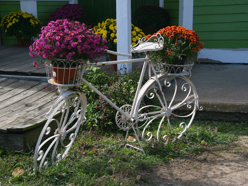 In the small town of Defiance nearby, a bike shop had an interesting flower arrangement outside.
