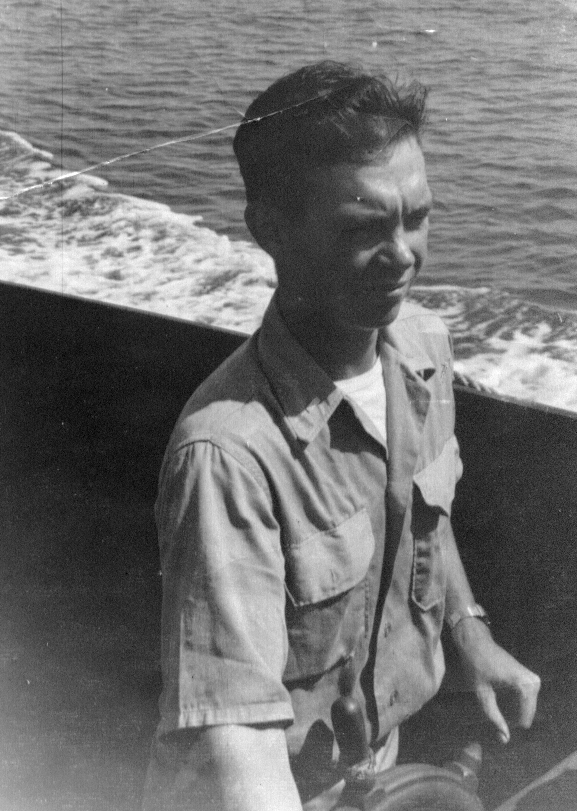 Wayne Eldredge,in LCVP off the Coast of Guam, 1945