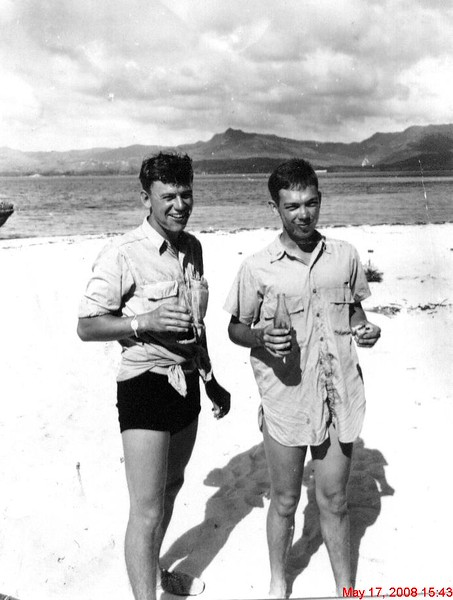 Don Adams & Wayne Eldredge, Inarahan, Guam, 1945 -1