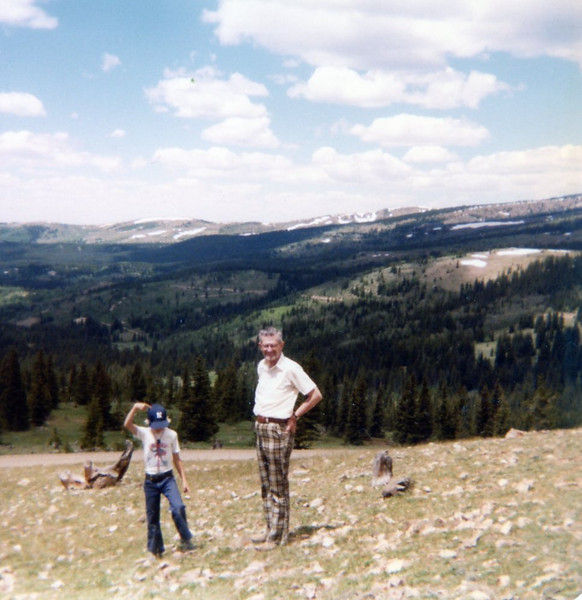 Seth and Grandpa Bob, somewhere in Northern Colorado on way to Wyoming to visit<br /> Tim at his first golf course superintendant job near Laramie.<br /> 1979