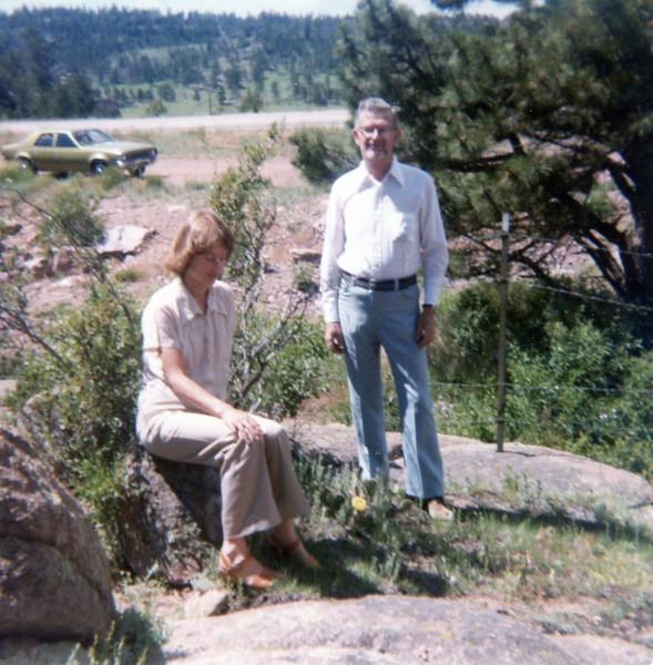 Bonnie & Grandpa Bob<br /> Colorado<br /> 1979<br /> (The green Hornet, which Grandpa Bob gave to us, is in the background.)