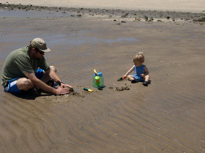 My boys building sand castles.