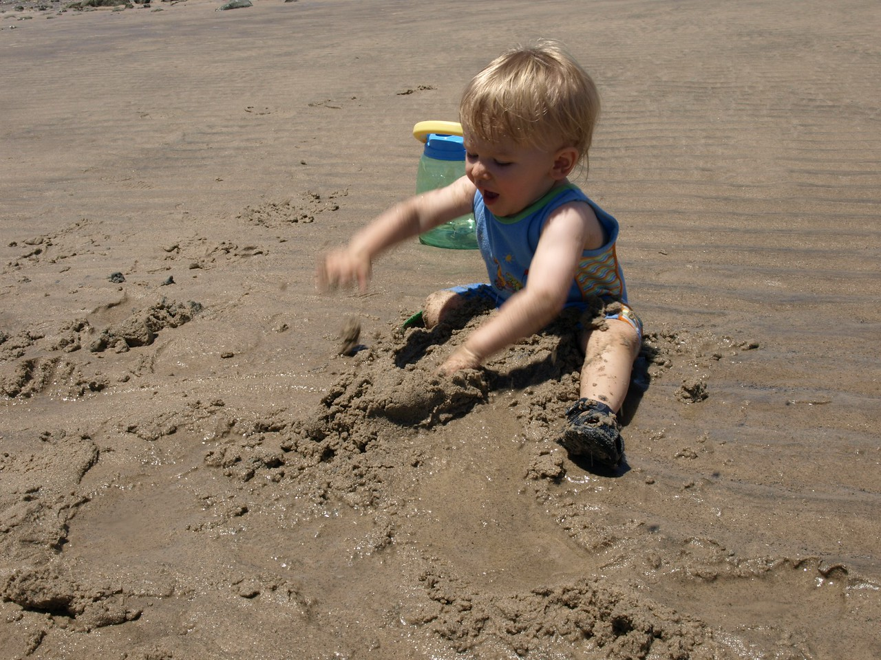 Cody decides to push all the sand on him.