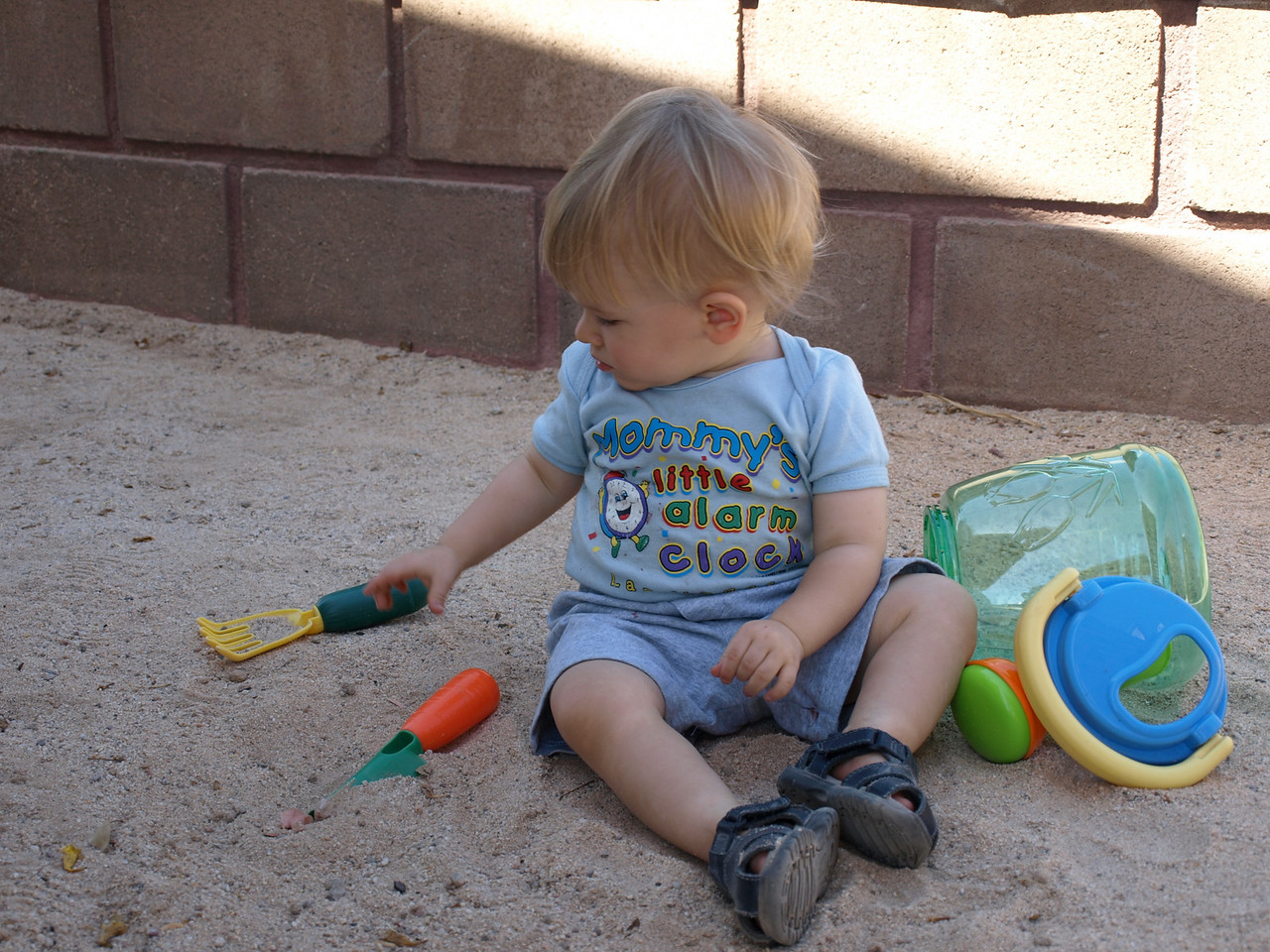 He is so glad that Papa sifted the sand and got all of the big rocks out of the sand.