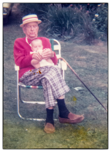 Grandpa and Jenny Gibson at WB's birthday party at the house overlooking the Lagoon .<br /> Jenny is the daughter to George and Louise Gibson.