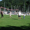 Family game of volleyball in Snug Cove.