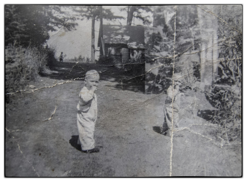 The twins Martha and Eileen going from Grandma and Grandpa's cottage to the Foran's cottage on the Point.