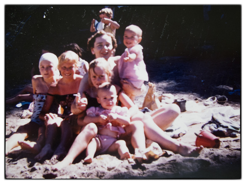Swimming in front of the Foran's cottage on the Point.<br /> Sheila Foran, Tammy Stewart, Soosi Foran with Martha McDonald, Mum (Mary) McDonald with Eileen McDonald<br /> Not sure who the other three in the background are.