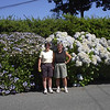 The twins atop Cardiac Hill in front of the hydrangea hedges.<br /> Martha Gillier and Eileen Bako.