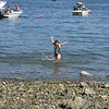 Swimming at Pebble Beech. Even in August the water is quite refreshing.