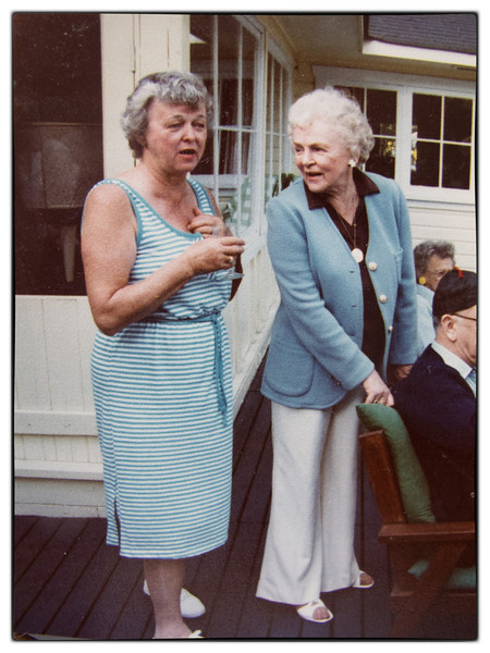 Anita and sister Eileen on the Point at Mountain's cottage.