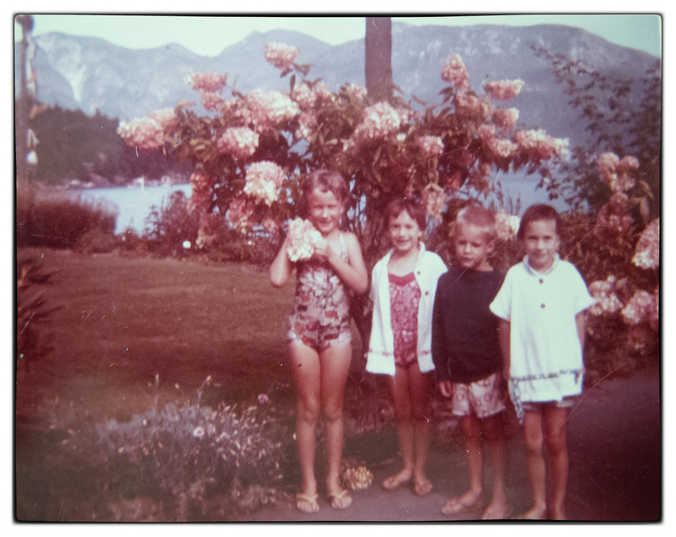 ? Dockerty, Eileen, Ian and Martha after swimming lessons at the Hotel pool.
