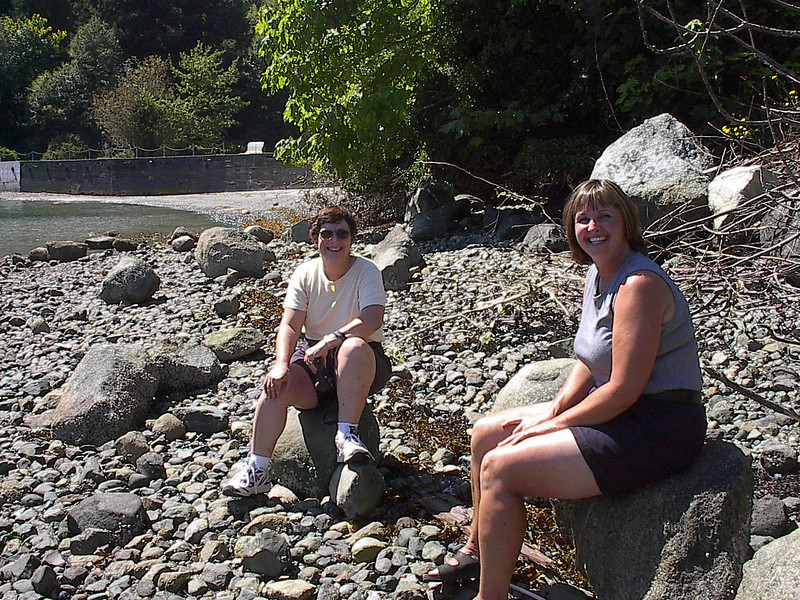 Martha Gillier and Karen McDonald at the beach below the Old Hotel.