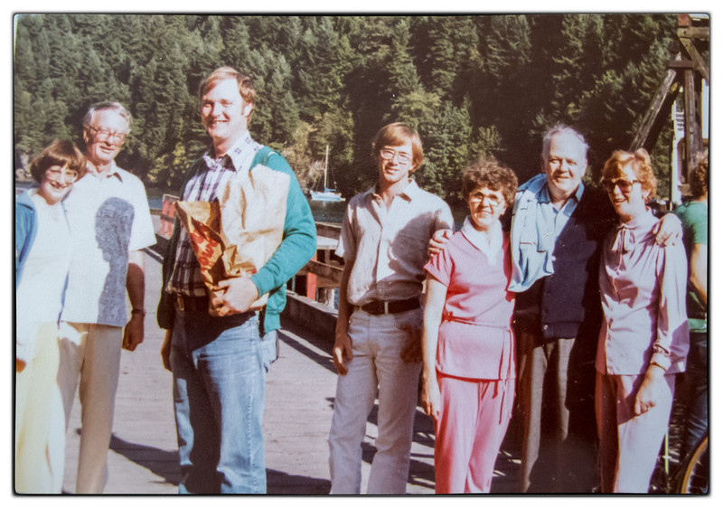Martha and Tom came out to Vancouver for Ian and Karen's wedding in 1980. The August birthday tradition was continued for Bill, Ian and Billy.<br /> Martha Gillier, Dick Rudy, Tom Gillier, Mark Rudy, Mickey McDonald, Bill McDonald, Joanne McDonald