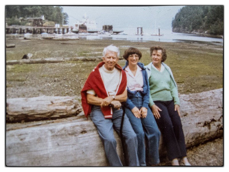 John Foran was the best tour guide. Here we are resting on a Douglas Fir log after our annual walk to the Weavers.<br /> John Foran, Martha Gillier, Mary McDonald