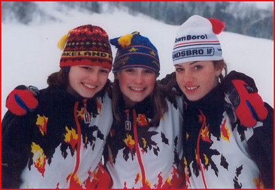 High school ski team - Jean, Sally and Sarah - freshman year.