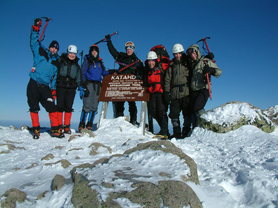 Joe and crew hiked to the summit of Katahdin in Maine, during the winter!