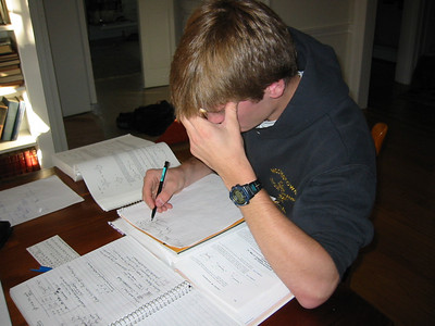 Joe studying Orgo fall 2002.